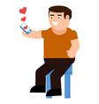 a man receives a love message icon vector image vector image