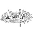 A quick guide to citrus fruits text word cloud vector image