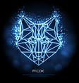 abstract polygonal tirangle animal fox neon sign vector image vector image
