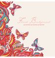 background with paisley pattern and butterfly vector image vector image