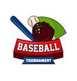 baseball tournament logo design with ball bat vector image vector image