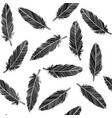 birds feathers seamless in black and white vector image vector image