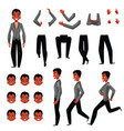 black african american man character creation set vector image