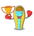 boxing winner sleeping bad mascot cartoon vector image