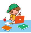 boy doing his homework on computer vector image