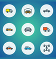 car icons colored line set with sedan car vector image vector image