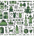 christmas seamless background sketch for your vector image vector image