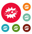 comic boom ouch icons circle set vector image vector image