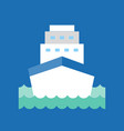 cruise ship in sea wave icon flat design vector image