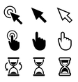 Cursors icons Mouse hand arrow hourglass vector image