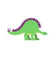 cute cartoon green stegosaurus dinosaur vector image vector image