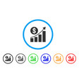 dollar growth graph rounded icon vector image