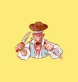 emoji sticker captain aggressive attack knives vector image vector image