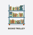 Flat Design Books Trolley vector image vector image