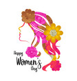 Girl avatar with flowers happy women day