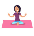 girl doing yoga sits in lotus position on pink rug vector image