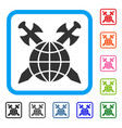 global protection framed icon vector image vector image
