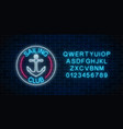 glowing neon sign of sailing club with anchor vector image vector image