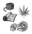 hand drawn set with hemp leaf cannabis fiber cloth vector image vector image