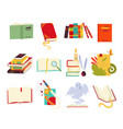 icons books set design style with dragon vector image vector image
