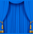 Light blue curtain with gold tassels