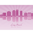 Long Beach V2 skyline in purple radiant orchid vector image vector image