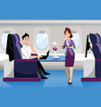 man travel airplane in business class vector image vector image