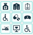 medicine icons set with data diagnostics invalid vector image vector image