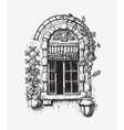 Open window sketch Vintage vector image vector image