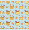 pineapple cocktail with starfish pattern vector image