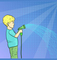 pop art background a child a little boy watering vector image vector image