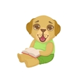 Puppy Reading A Book vector image