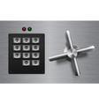 realistic safe lock metal element on brushed metal vector image vector image
