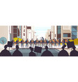 riot police officers controlling street protesters vector image vector image