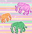 Seamless elephant pattern on pink stripped vector image vector image