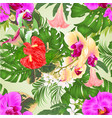 seamless texture orchids and brugmansia vector image vector image