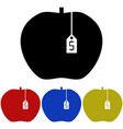 selling an apple glyph icon vector image