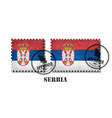 serbia or serbian flag pattern postage stamp with vector image vector image