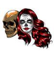 skull - day dead party dia de los muertos vector image