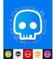 skull paper sticker with hand drawn elements vector image