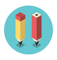 Stylized isometric pencils vector image