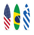 surfboard with flag on it set leisure vector image vector image