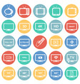 tv icons set on color circles white background for vector image
