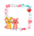 valentines day background with cat vector image