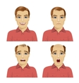 young man with different stages of hair loss vector image