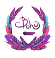 Bohemian wreath with feathers vector image