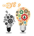 light bulb and gear with business icons pattern vector image