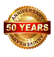 50 years anniversary golden label with ribbon vector image