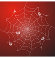 Abstract White Cobweb With Rain Drops on Red vector image vector image