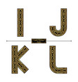 alphabet celtic golden style in a set ijkl vector image vector image